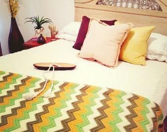 Vintage Handmade Earthtone Afghan Throw Blanket
