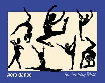 acro dance svg silhouette clipart printable dancing woman gymnastic yoga cut out acro ballet digital split svg fitness art vector file