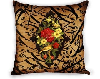 "Gol O Morgh""Flower and Bird Persian Calligraphy Qajar Velvet Cushion Cover Pillow Case Decorative Pillow"