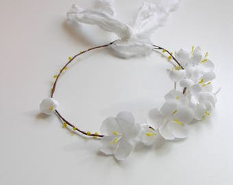 white headband, wedding white flower crown, flower girl headband, rustic wedding, hairpiece, READY TO SHIP