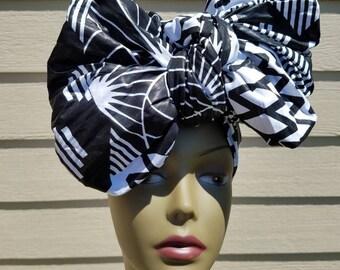 Black & White Head wrap;Black African Headwrap; African Clothing; African Headwrap; African Scarf; Fabric Headwrap: Headwrap; Head tie