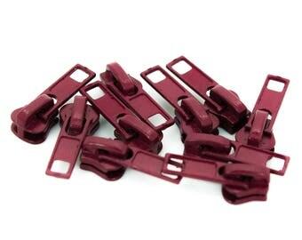 10 zipper for profile zippers, 5mm, free choice of color (color: bordeaux)