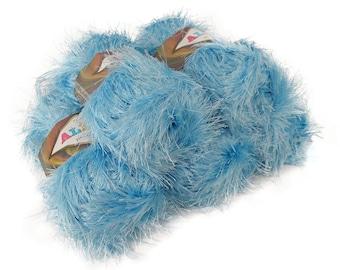 5 x 100g fringes yarn alize DECOFUR, #40 light blue