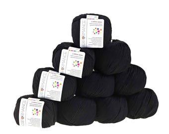 10 x 50g knitted yarn cotton gem #503 Black