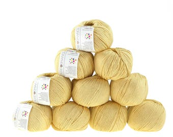 10 x 50 g knitting wool cotton Bay #187 beige