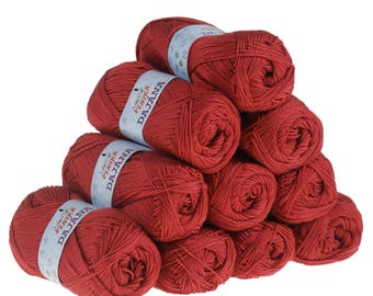 10 x 50 g knitting wool Dajana uni by VLNIKA, #467 Red