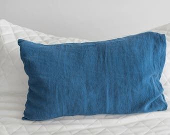 Set of 2 Navy Blue Color Washed Linen Pillow Cases