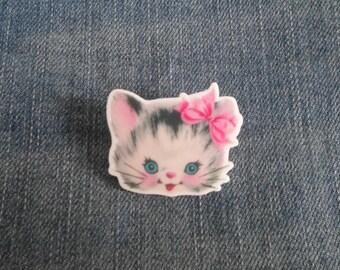 Handmade Retro Kitsch 1940's 1950's Kitty Cat Pin Badge