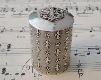 Antique French Silver Plated Fleur de Lys Box Holy Oil c.1900