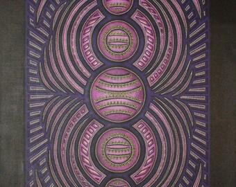Contemporary painting: purple round.