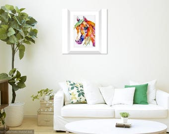 Rainbow horse lover watecolor painting home decor print. Equestrian housewarming wall art present. Teenage girl bedroom wall decoration
