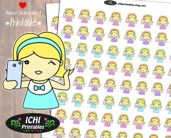 Selfie Printable Planner Stickers Take A
