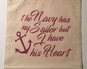 Custom Glitter Navy Tote - Navy Wife - Navy Mom - Navy Spouse - Navy Girlfriend - Navy bag - Navy Purse
