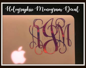 Holographic Monogram Decal - Vinyl Monogram Decal - Shiny Decal - Personalized Decal