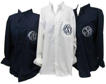 Oversized Bridesmaid Shirts- Monogrammed Getting Ready Shirts- Bridal Party shirts-Broadcloth Bridal Shirts