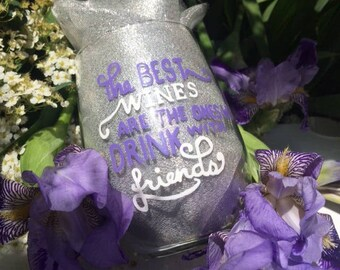 The best wines are the ones we drink with friends/Hand painted/ stemless wine glass/ bff/ best friends/wine/