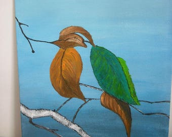 "Painting acrylic painting ""bird deleafed"""