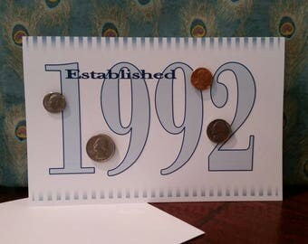 1992 Coin Greeting Card, 1992 Coin Birthday Card, Coin Card, 1992 Coin Card, 1992 Coins, Born in 1992, 1992 Gift, 1992 Birthday Card, 1992