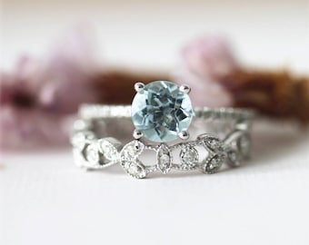 14K White Gold Ring Round Aquamarine Ring Solitaire Ring Aquamarine Engagement Ring Half Eternity Pave Diamond Wedding Ring Bridal ring Set