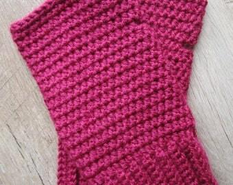 Burgundy Crochet Fingerless Gloves