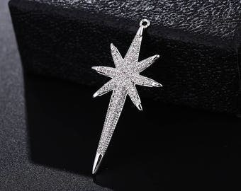 North Star charm / Pendant/necklace/link/connector, 14K Gold/Rose Gold/Rhodium Micro Pave CZ zirconia charm,36MMx21MM,C002