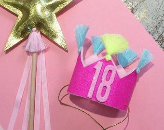18th Birthday Party Crown || Mini Party Crown ||18 || 18th Birthday || Party Crown || Glitter Crown ||