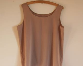 Top women tank top beige smooth satin. Top, summer t-shirt. Size XL. French vintage.