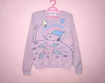 Rare!! Snoopy On The Bed Good Night Peanuts Spellout Pullover Jumper Sweatshirt Ladies Size L
