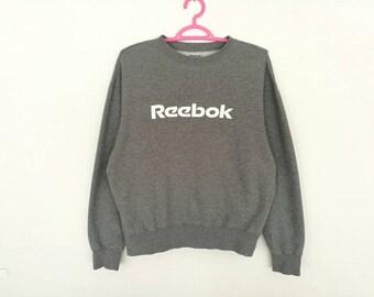Rare!! Vintage Reebok Small Logo Big Spellout Embroidery Pullover Jumper Sweatshirt