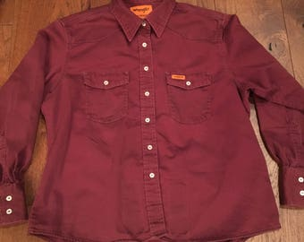 Wrangler western FR Flame Resistant super rare work shirt western shirt women's men's Wrangler Men's Medium short cut