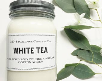 16 oz. White Tea Hand Poured Pure Soy Candle with Cotton Wick
