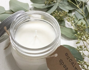 8 oz. Eucalyptus & Spearmint Hand Poured  Pure Soy Candle with Cotton Wick