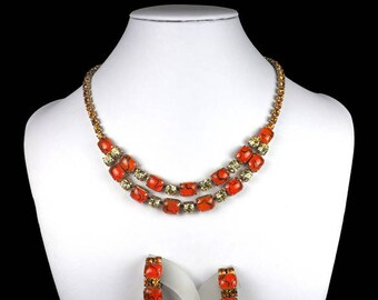 Vintage Jewellery Set-orange-rhinestone-cabochons-striped-elegant-glass-1950s-mid century-Mad Men-Gift