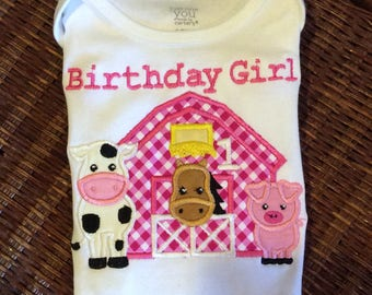 Barn animals birthday top-personalized with name and number