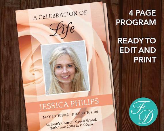 celebration of life printable funeral program template