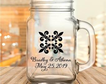 Custom Fleur de Lis Design Wedding Favor Mason Jars