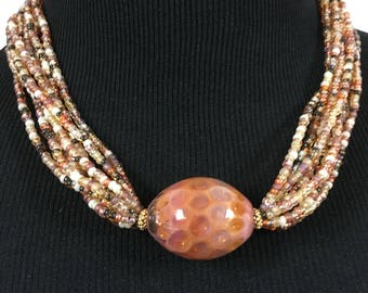 Rose Color Lamp Work Bead 9 Strand Necklace