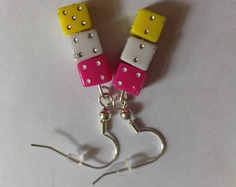 Handmade dice earrings