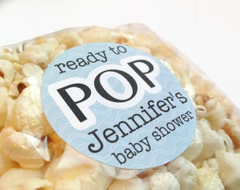 Ready to pop stickers, baby shower favour stickers, she's about to pop stickers, personalised baby shower stickers, 244 Blue