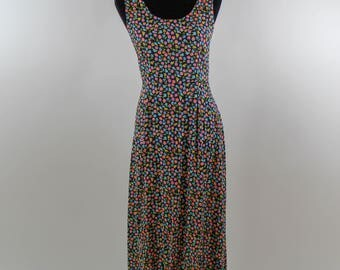 Vintage Flower Empire Waist Maxi Dress size M/L