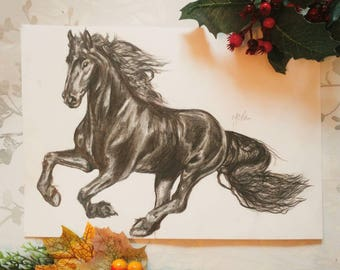 Freesian horse A4 original charcoal drawing