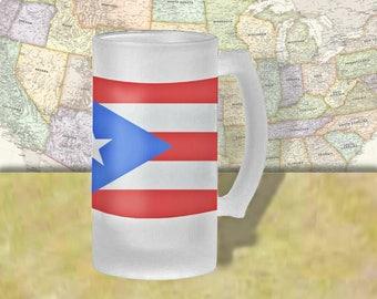 Puerto Rico Flag Beer Mug, Beer Stein, Country Flag, Country Pride, Beer Glass, 16 oz., Frosted Mug, Beer Thinkers, Beer Lovers, Cold Beer