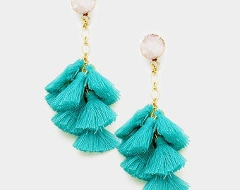Turquoise Druzy Tassel Earrings, Multi Tassel Earring