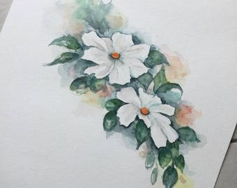 Unique original watercolor flower