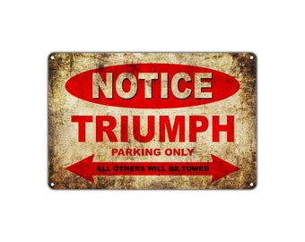 TRIUMPH Motorcycles Parking Sign Vintage Retro Metal Decor Art Shop Man Cave Bar
