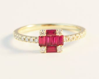 Cluster Baguette Ruby Engagement ring Half Eternity Dainty diamond wedding ring  promise July Birthstone Jewelry Anniversary gift for her