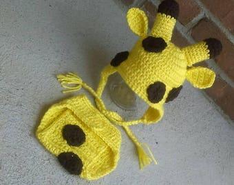 Crochet Giraffe Hat  Matching Diaper Cover Newborn-Adult Sizes Ships within 2 days !