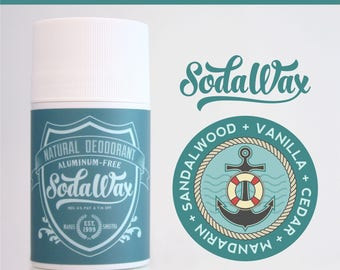 "Sandalwood + Vanilla + Cedarwood + Mandarin > ""Knotty Buoy"" Aluminum-Free Natural Deodorant by SodaWax"