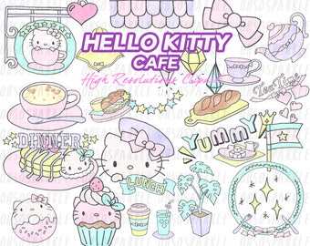 hello kitty clipart, clip art,cafe, scrapbooking, pastel,PNG,hellokitty,digital files, download,image,picture,pack,planner