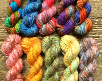 Hand Dyed Sock Yarn Mini Skein Set #65 -- 10 Mini Skeins/25 Yards Each